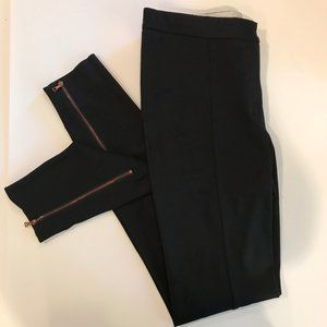 Acne Black Pants with Rose-Gold Zippers at Ankle